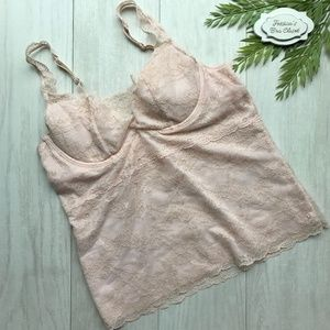 36A GAP Body Lace Camisole w/ Bra Blush Pink NWOT